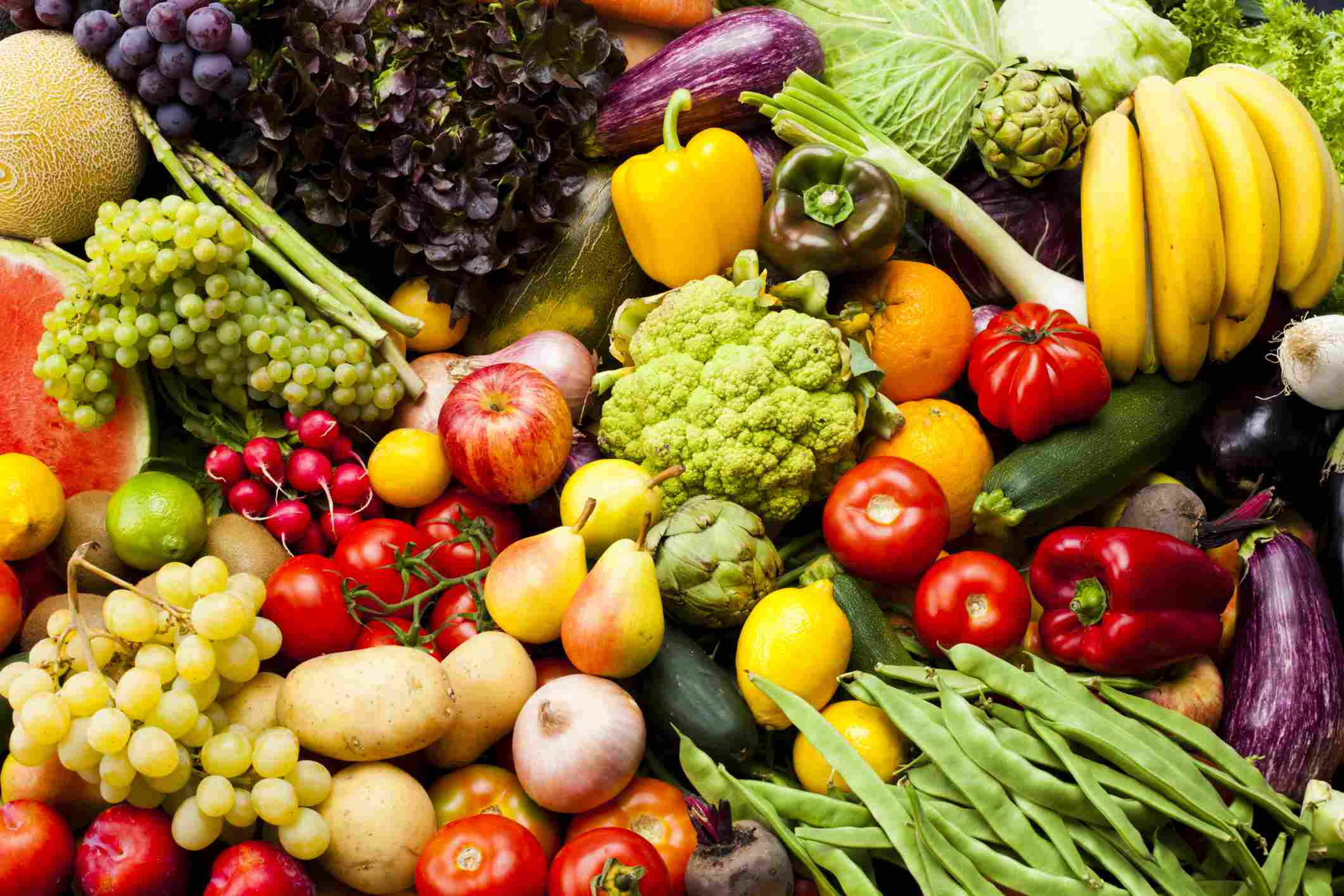 Pile of assorted fruits and vegetables