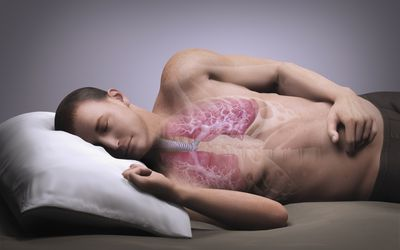 Illustration of a man's lungs as he sleeps