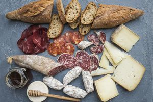 Cured meats and cheese