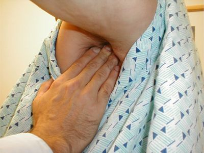 Examination of axillary (armpit) lymph nodes