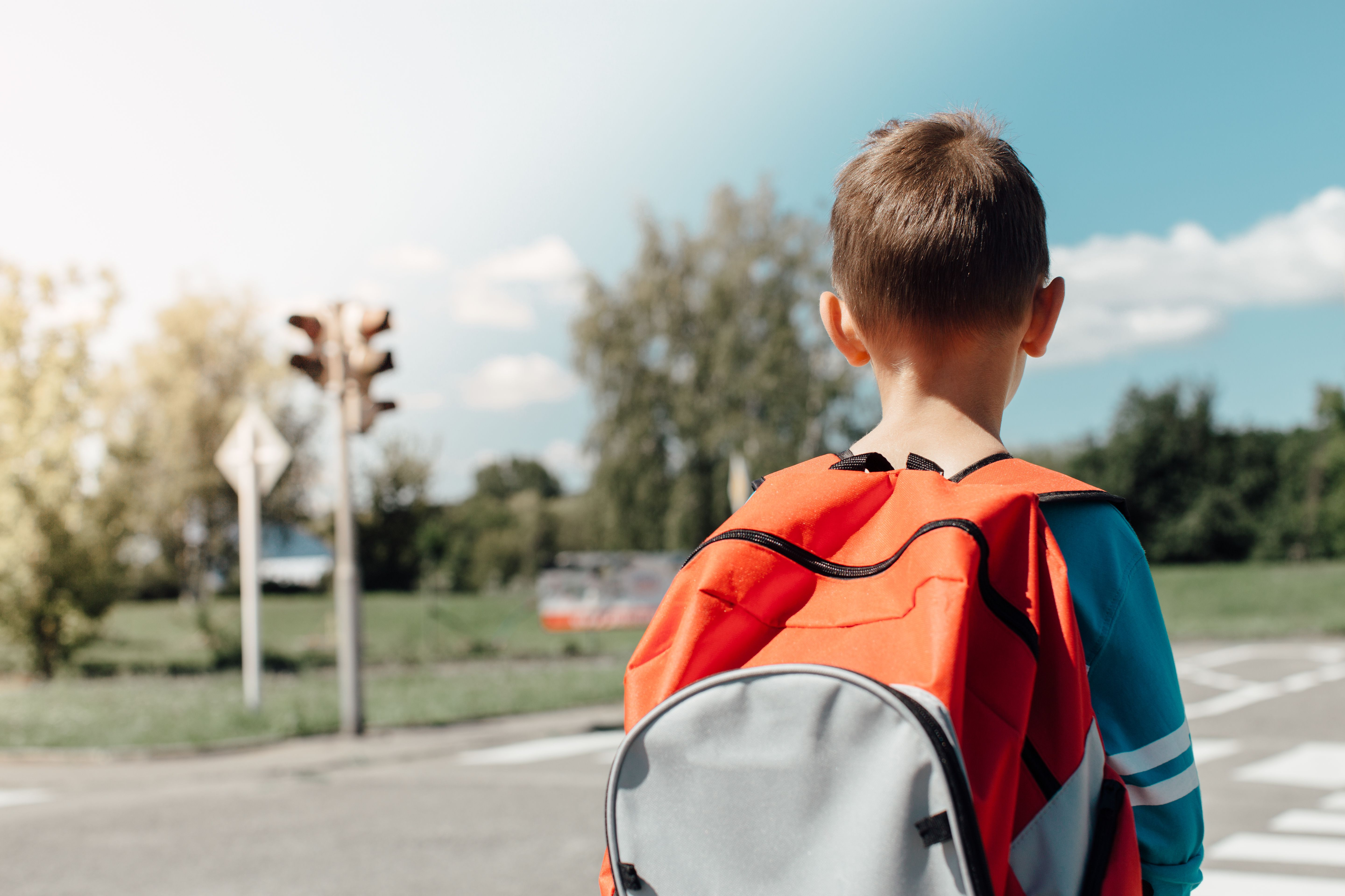 ead696a3596b Rear View Of Schoolboy Carrying Backpack While Standing On Road