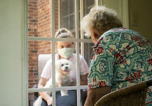 Older adult woman sitting indoors visiting with masked granddaughter and dog through a window.