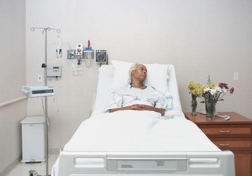 Woman alone in hospital.