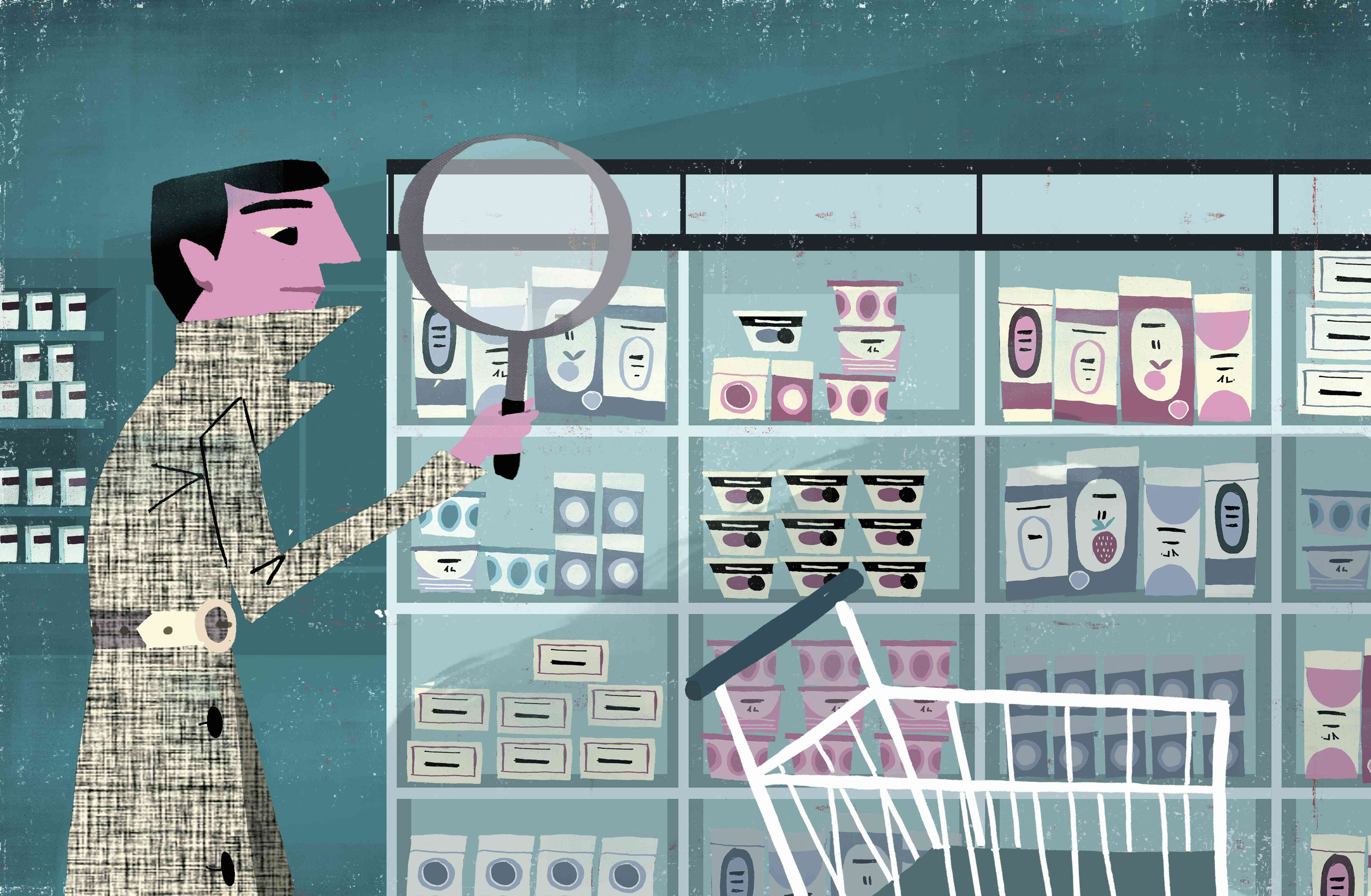 Illustration of a man shopping with a magnifying glass to examine products