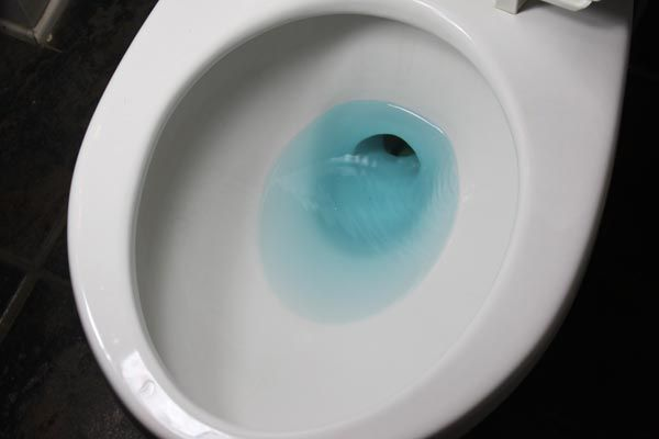 Colored water in toilet bowl.