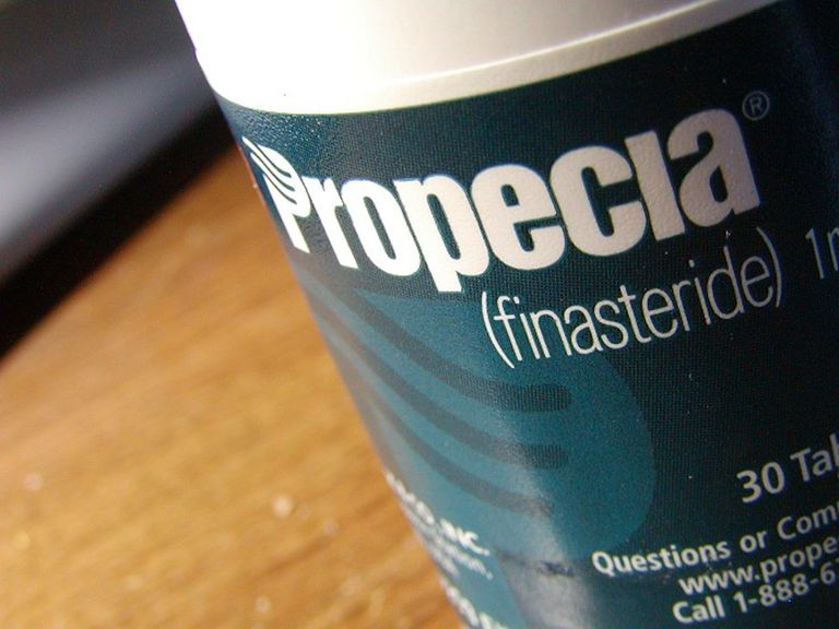 Propecia label up close on a table