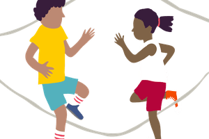 Two children playing jump rope