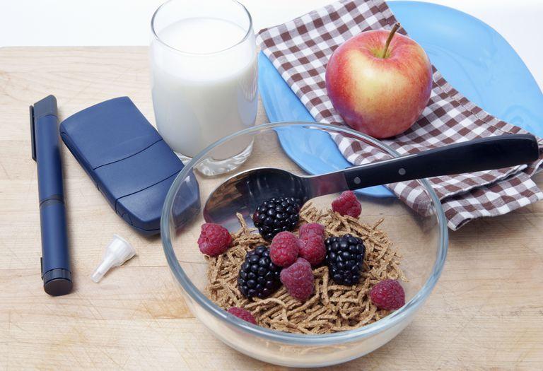 Healthy breakfast and diabetic testing equipment