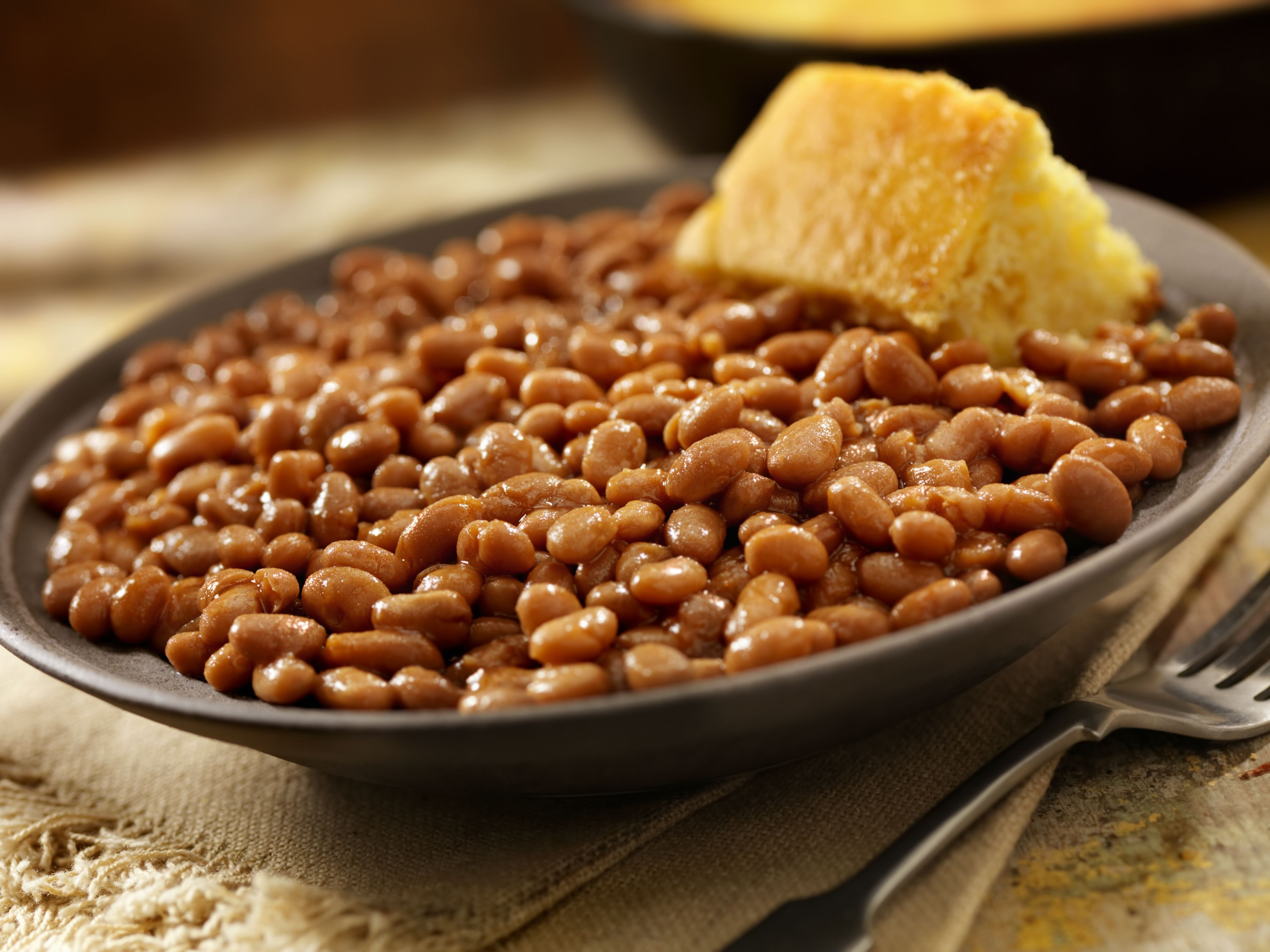 Crock of baked beans