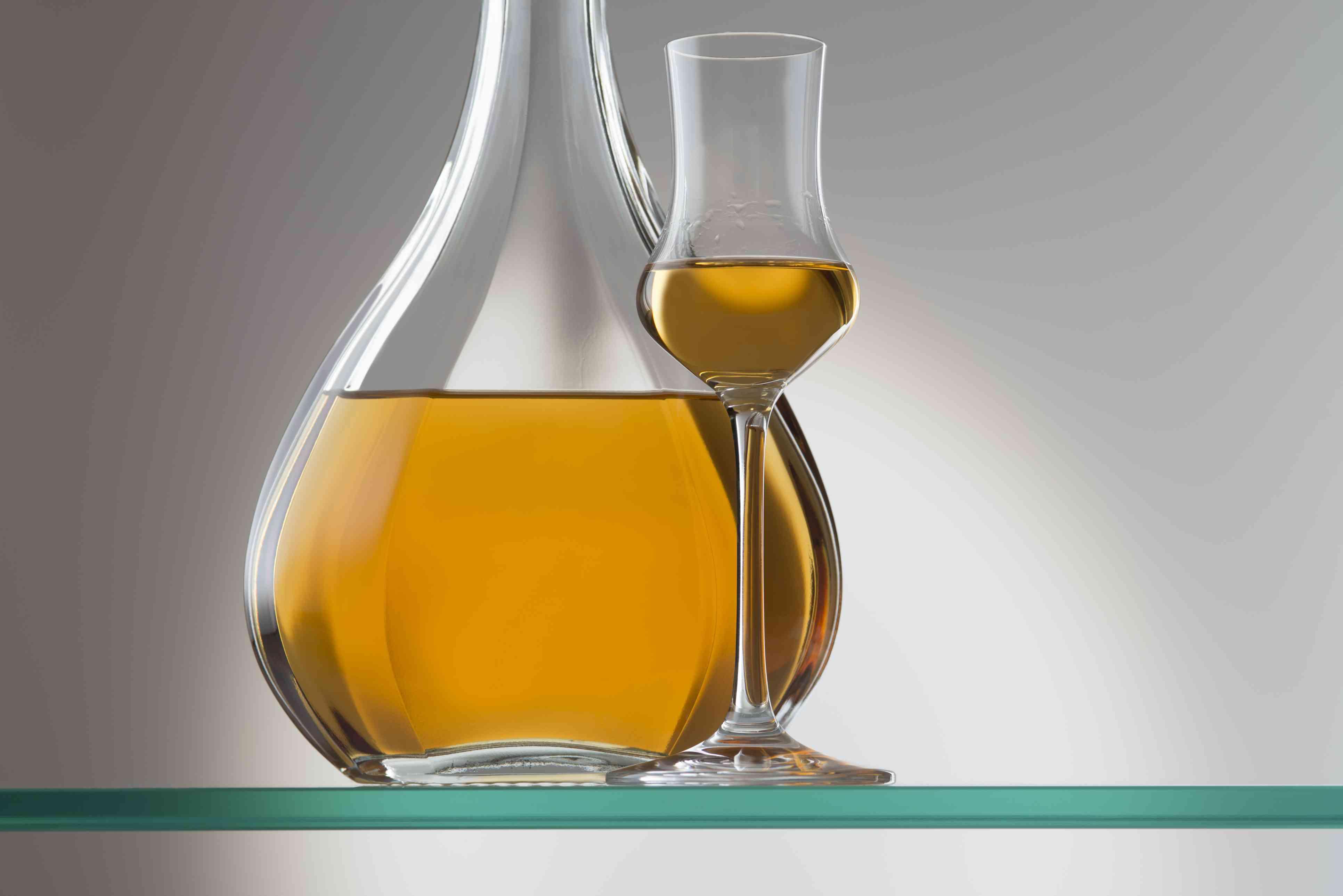 brandy bottle and aperitif glass