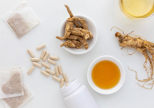 Ginseng root, capsules, tea, and extract