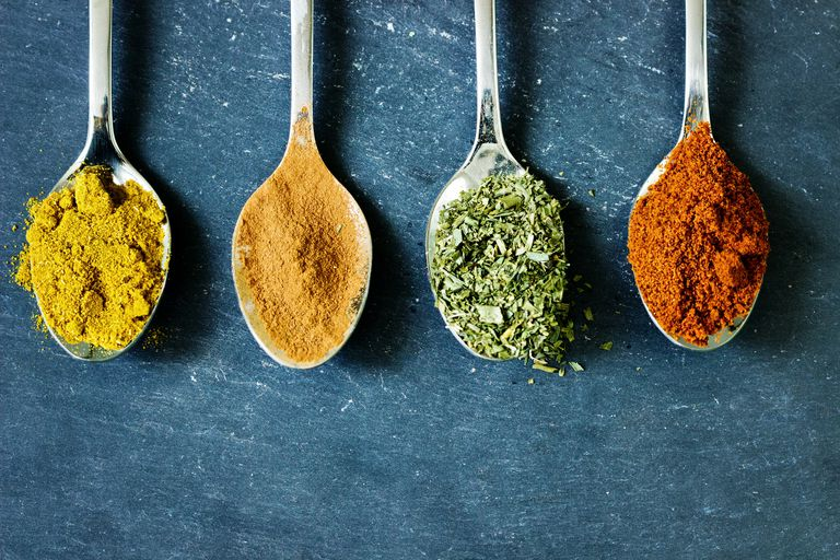 Spoons of different spices