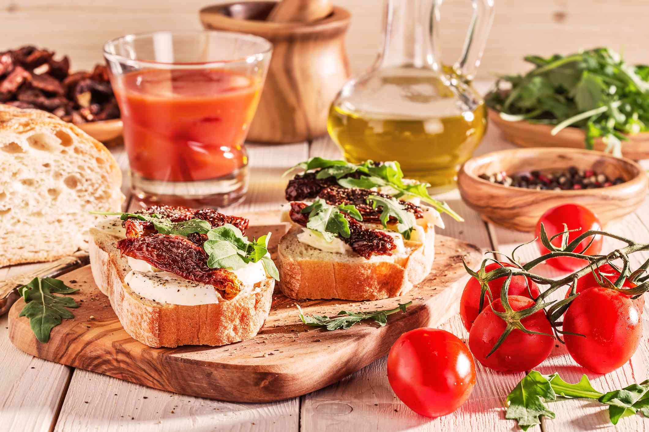 Mediterranean diet foods arranged on a wooden table