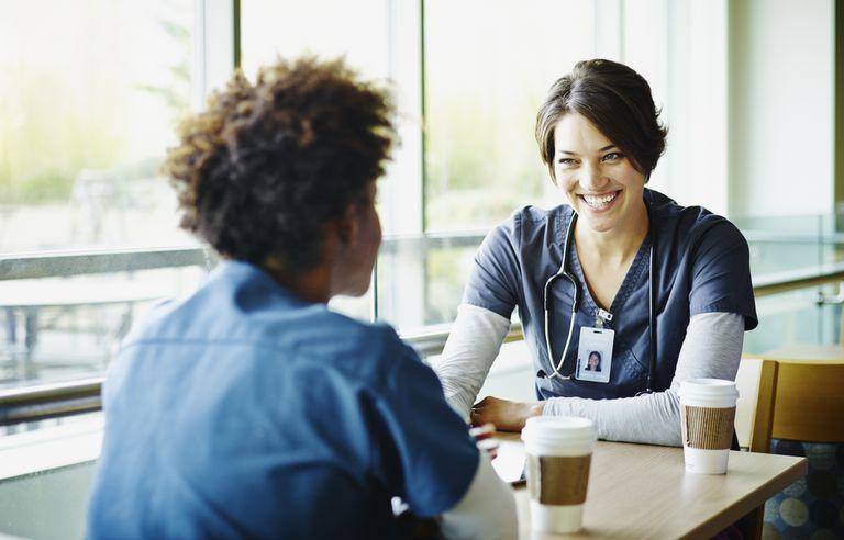 Nurses talking in lounge