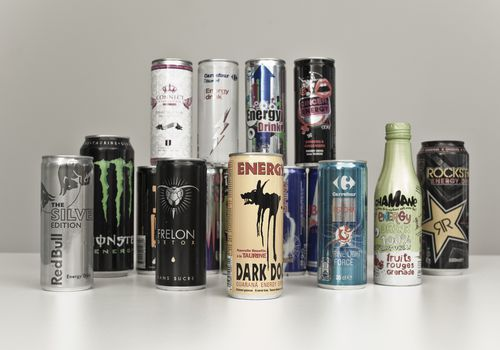 Energy drinks display