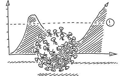 A black and white illustration of a COVID virus particle in front of a graph.