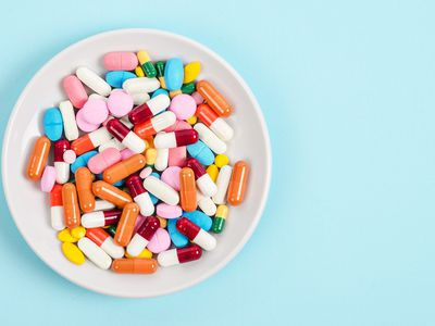 A top view of colourful medicine pills and capsules