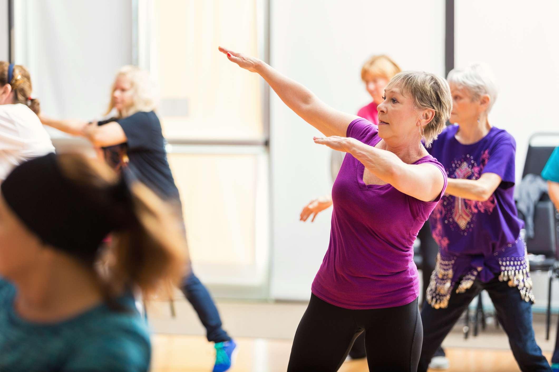 Senior women taking dance lessons