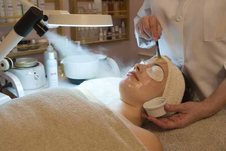 Young women getting a professional salicylic acid peel