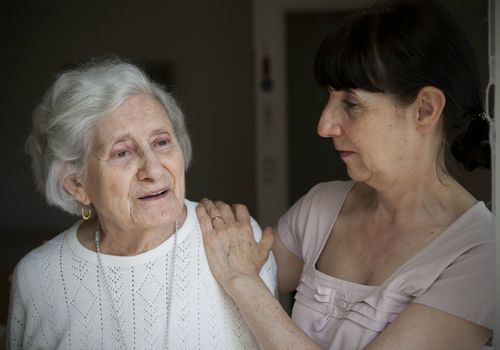 Alzheimer's patient with caregiver