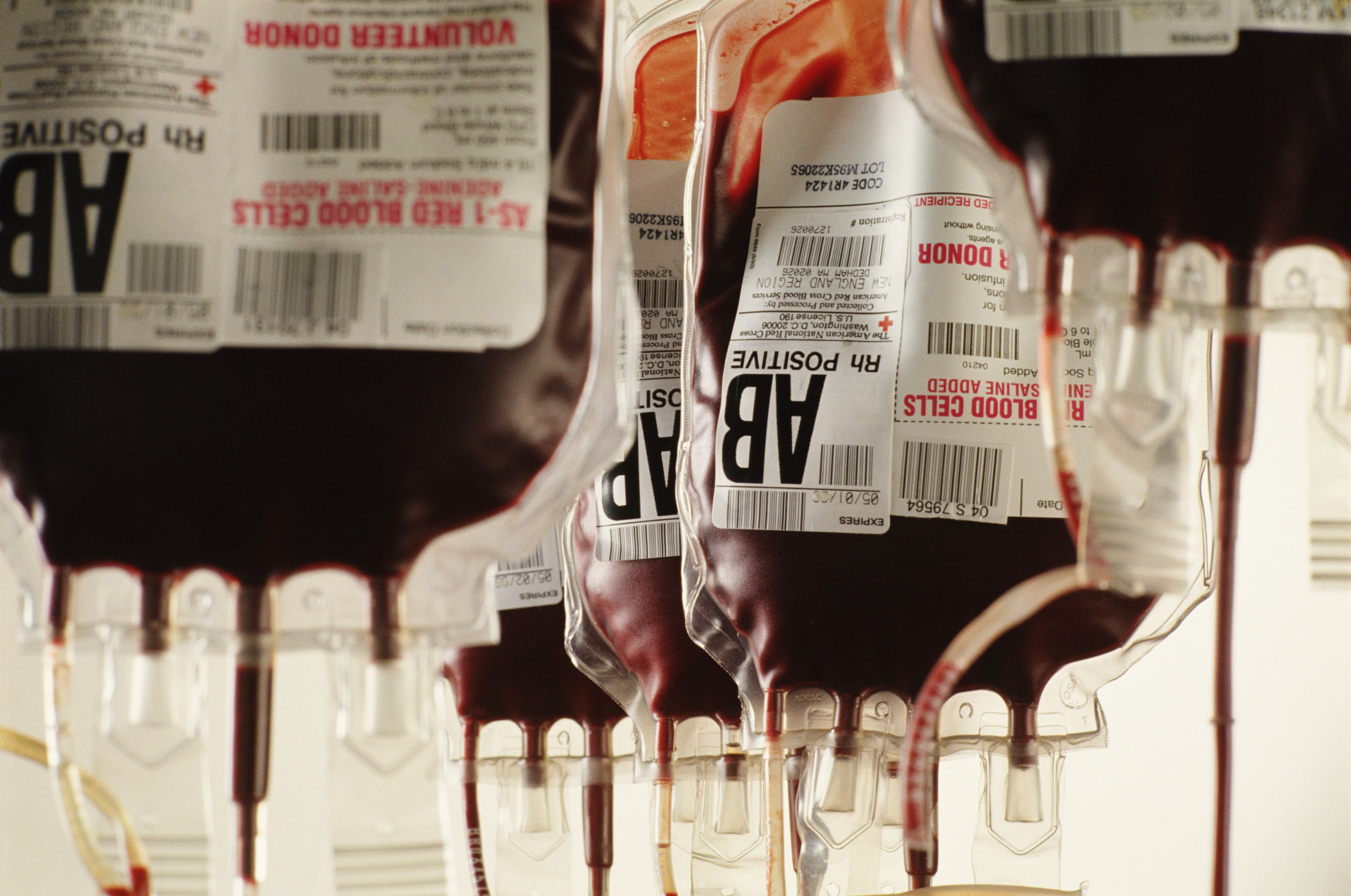 Bags of human blood