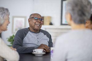 Man enjoys tea at assisted living residence