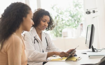 Doctor and patient discuss amyloidosis