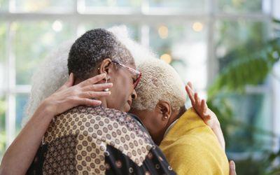 senior women hugging