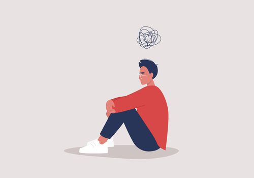 Illustration of young man struggling mentally.