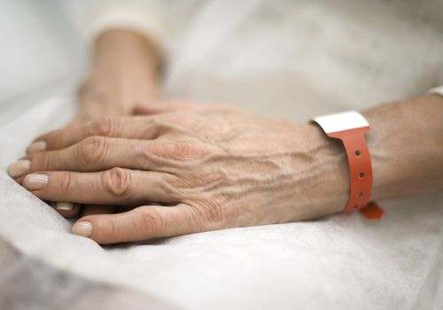 woman with medical bracelet