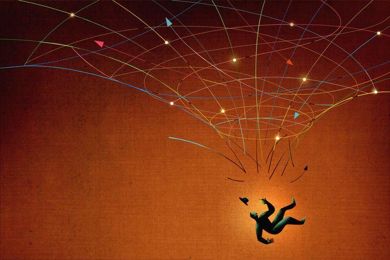 Man falling through a safety net.