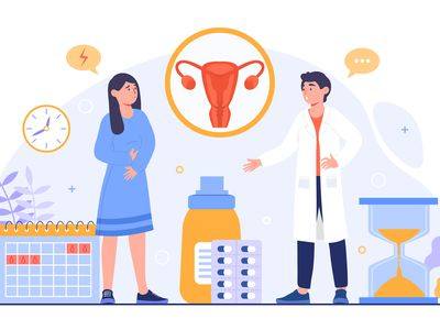An illustration of a female holding her stomach and talking to a male doctor; there is a diagram of a uterus between them.