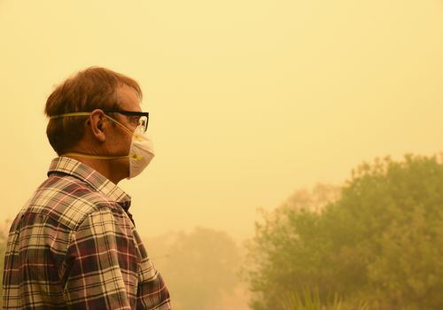 man wearing face mask while standing near wildfire