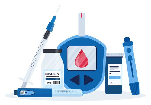 Diabetes equipment icon collection. Insuline pump, glucometer, syringe, pen, lancet, test strips