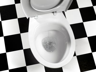 Toilet with checked tile floor