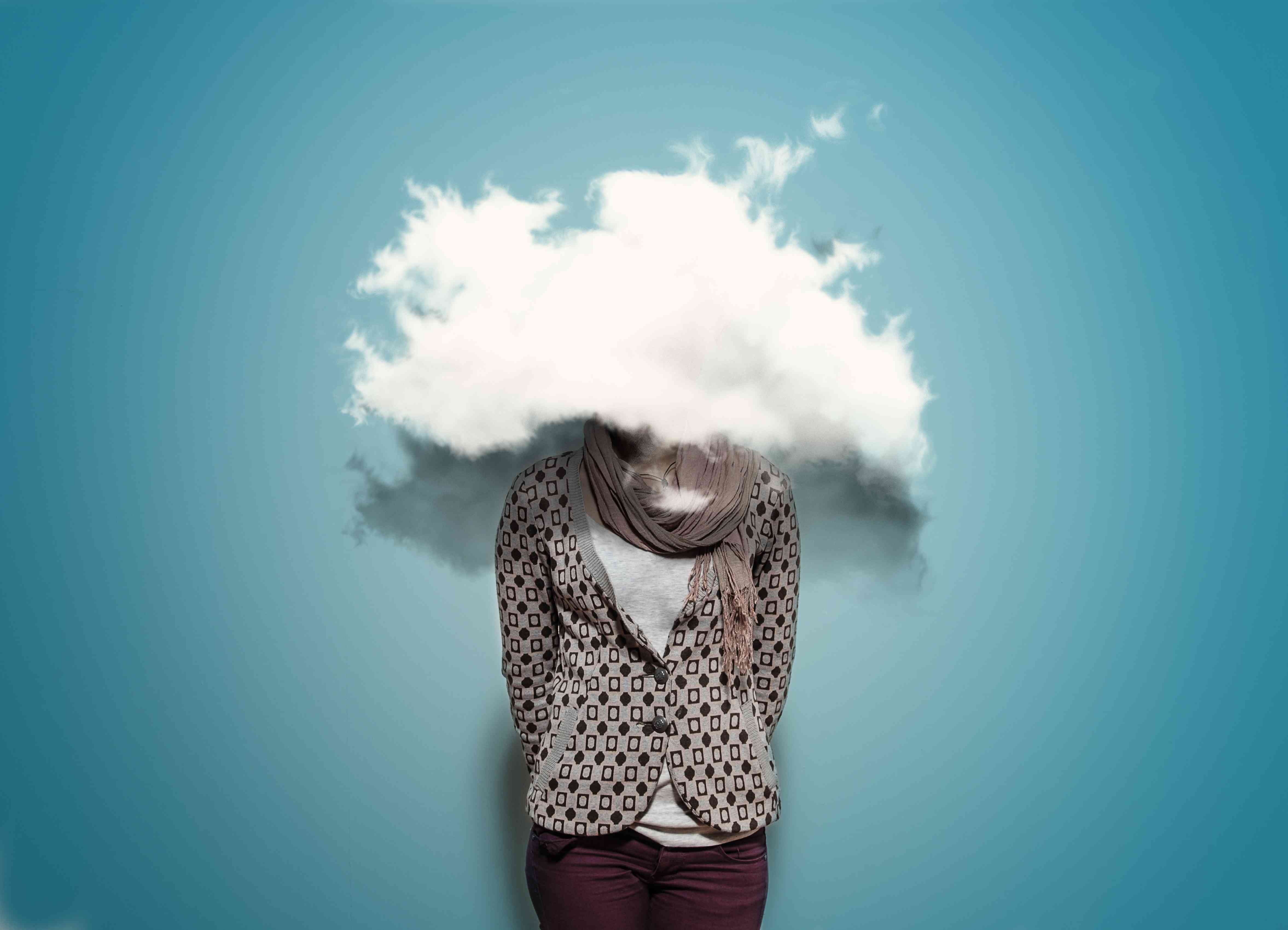 Person with a cloud covering their head