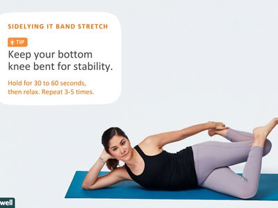 woman doing sidelying IT band stretch