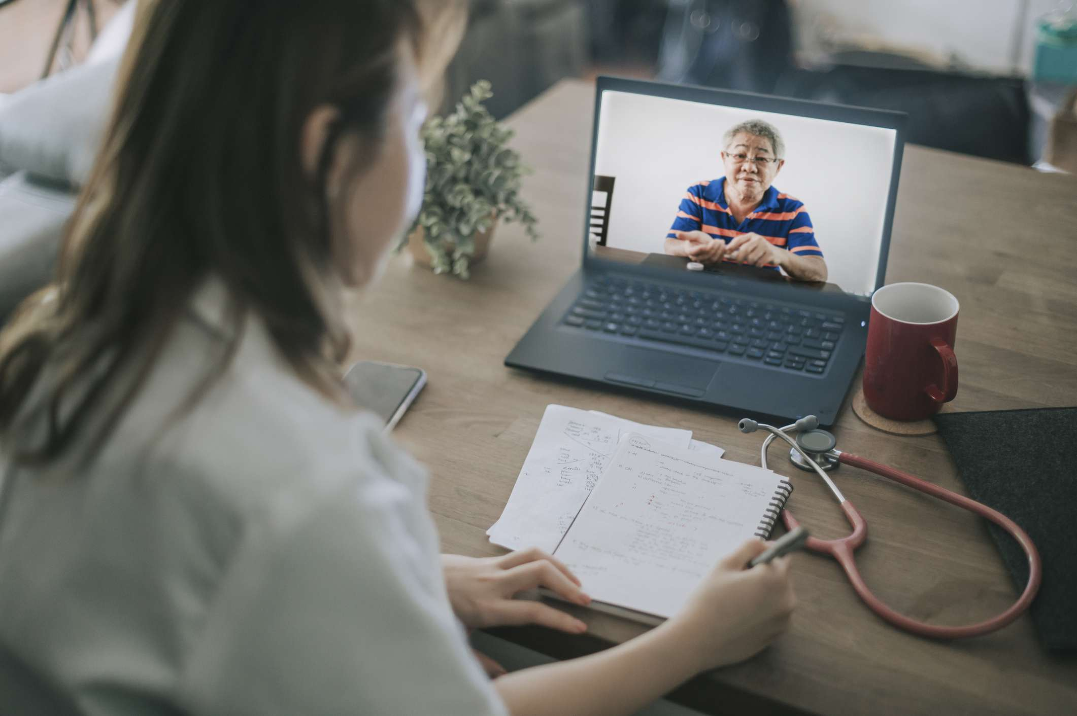 Doctor and patient on telehealth visit