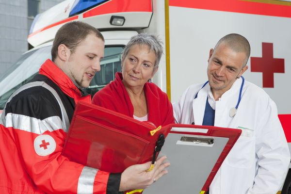paramedic with patient