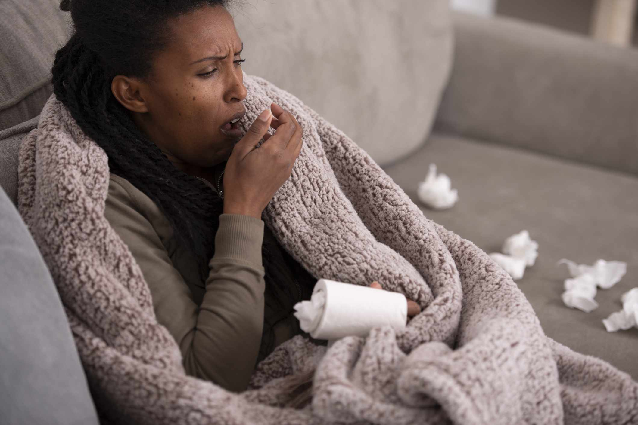 Woman sick with cough, may have pneumonia
