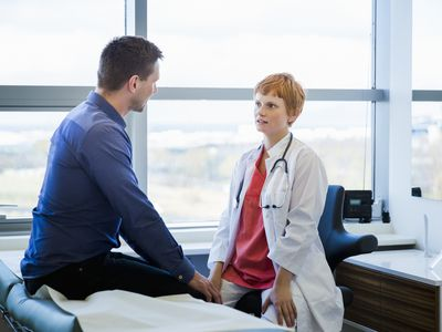 A patient talking to his doctor