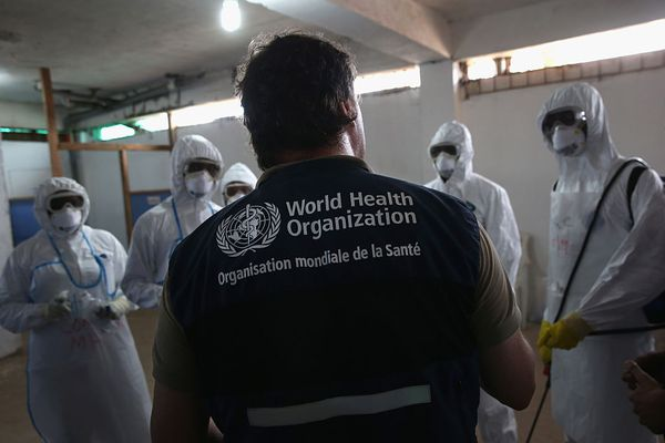 Man wearing World Health Organization vest