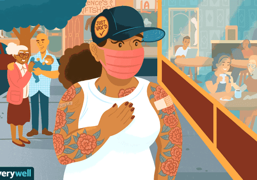 vaccinated woman wearing mask looking at unmasked restaurant goers