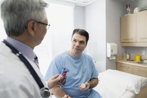 Doctor talking to patient about heart failure