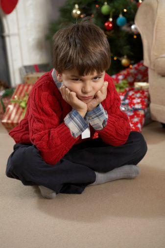 Sad boy on Christmas