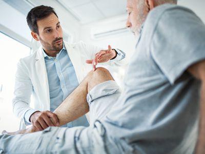 Senior man having medical exam