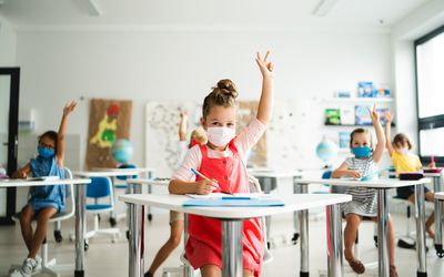 masked children at school
