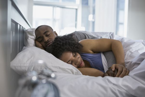 Couple sleeping in bed in the morning