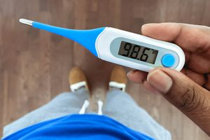 Normal body temperature on digital thermometer