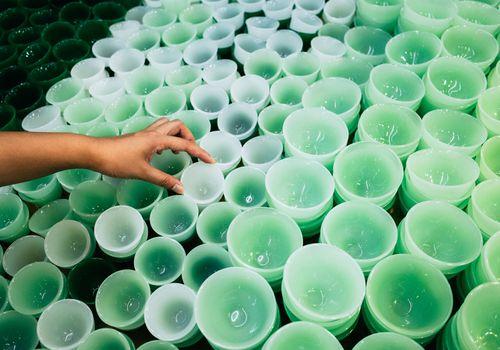 Many Green Jade Cups on Flea Market